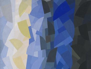 Abstraktes Gemälde in Blau-, Schwarz- und Gelbtönen