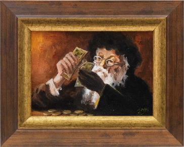 Gerahmtes Gemälde eines bärtigen Mannes mit schwarzem Fellhut, der Geldscheine zählt