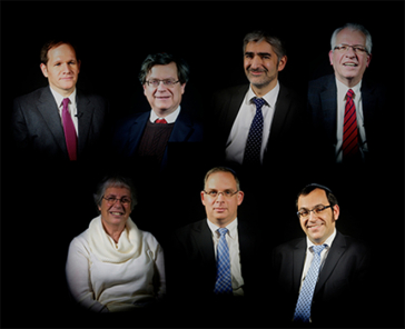 Collage of portraits of seven rabbis