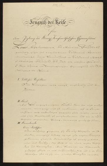 Abitur certificate, black and white document