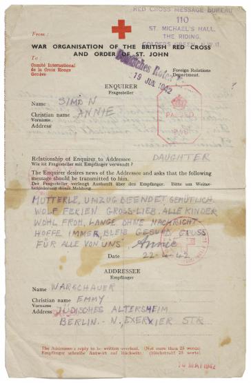 gestempelter und signierter Rot-Kreuz Brief