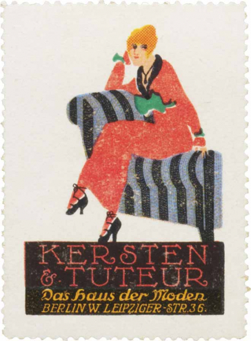 Poster stamp of the fashion boutique Kersten & Tuteur, showing a woman in a red dress sitting on a canape.
