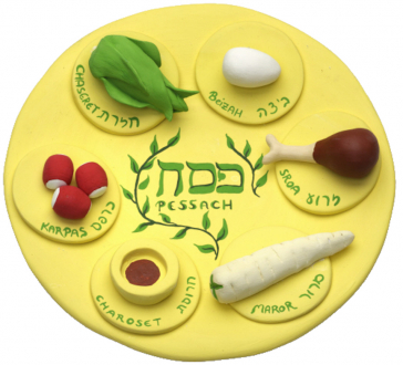 A yellow clay plate with traditional Passover herbs