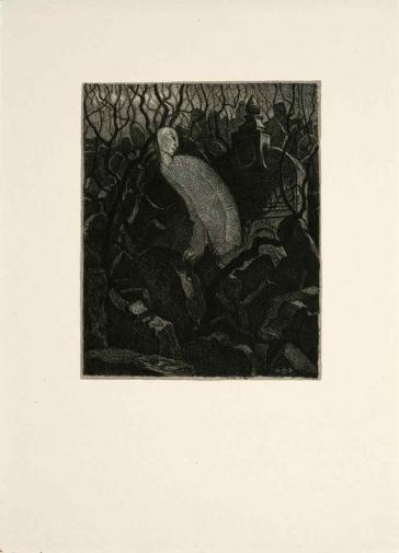 Schwarz-Weiß-Lithografie einer langen, schlanken, nach vorne gekrümmten Gestalt des Golem mit überlängten Armen und Oberkörper zwischen Grabsteinen.