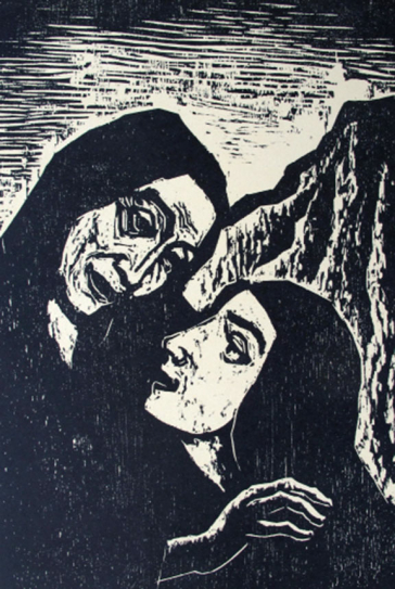 Black and white print of a woodcut: faces of two women with head scarves in profile, the younger one looks up at the older one, in the background a mountain