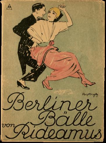 """Auf dem Cover ist ein tanzendes Paar zu sehen, ihr Rücken ist seiner Brust zugewandt, sie schauen einander über ihre rechte Schulter an. Darunter sieht man die Signatur von Rolf Niczky sowie in Schreibschrift """"Berliner Bälle von Rideamus""""."""