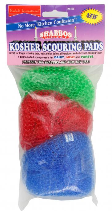 Packung mit drei Topfschrubbern in den Farben Grün, Rot und Blau