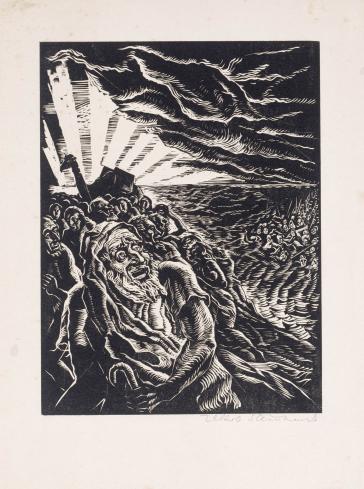 Woodcut: Jakob Steinhardt, Passage through the Red Sea