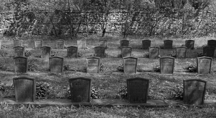 Gedenksteine in vier Reihen, dazwischen Gras, im Hintergrund ein Mäuerchen
