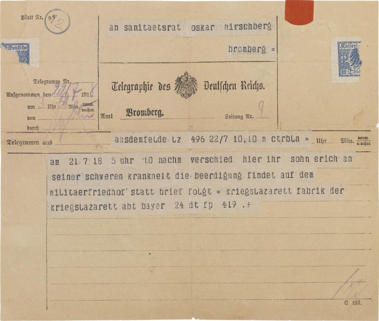 Telegramm, Vordruck, hand- und maschinenschriftlich