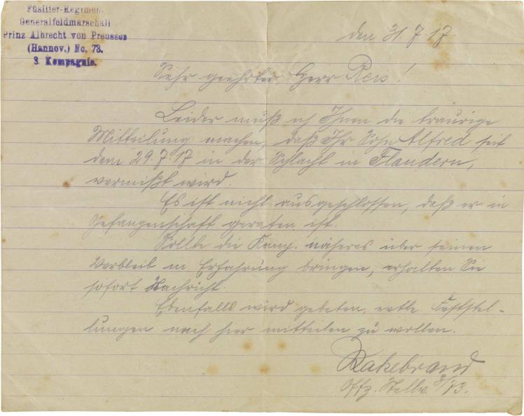 Letter, handwritten, stamped