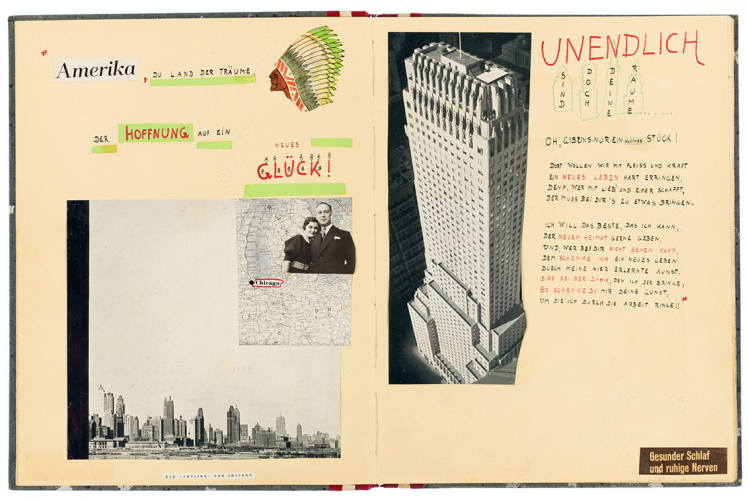 Opened album with pictures of the Chicago skyline, a skyscraper and a painted head with feather decoration, and handwritten text
