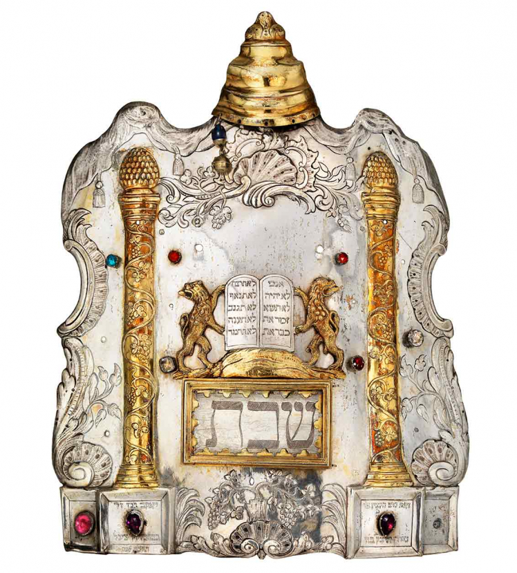 Silver Torah shield with gilded columns and lions holding law tablets
