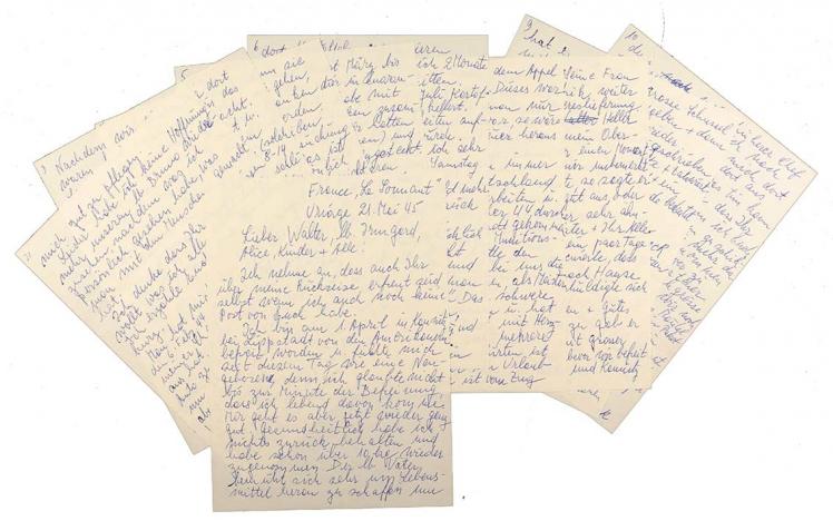 Alle zehn Seiten des zitierten Briefes, teilweise übereinander liegend