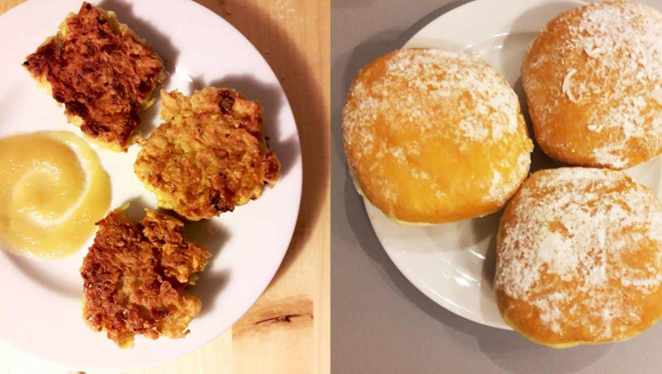 Collage: On the left of the image, three small latkes are plated alongside applesauce; on the right, a second plate with three sufganiot.