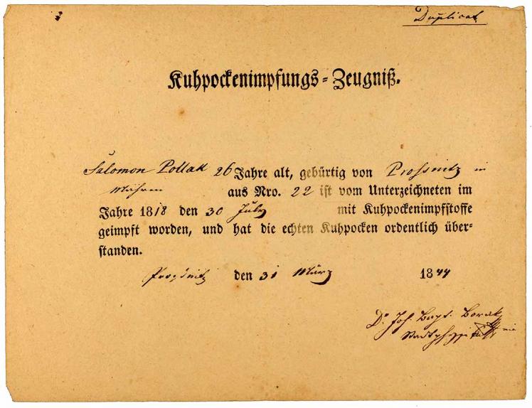 Handschriftlich ausgefülltes Kuhpockenimpfungs-Zeugnis für den 26-jährigen Salomon Pollak, 10 Zeilen, Unterschrift unleserlich, Impfdatum: 30.7.1844.