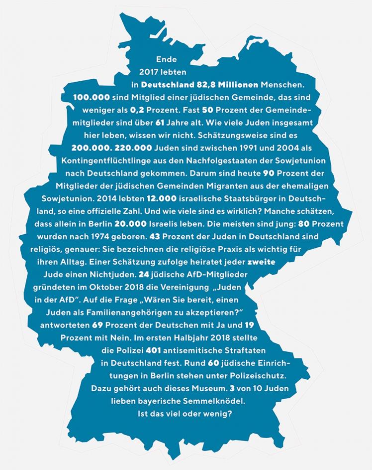 Deutschlandkarte mit Zahlen jüdischer Lebensrealitäten