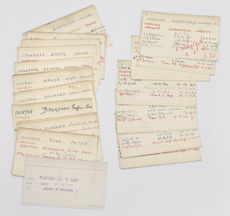 Zwei ausgelegte Stapel von beschrifteten Karteikarten