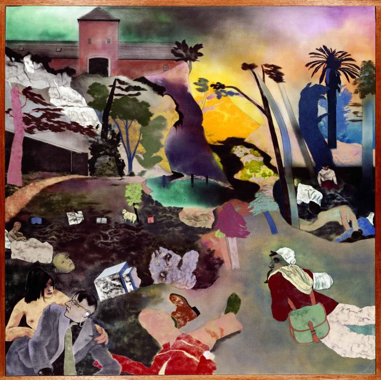 Abstract painting of a collage of images including palm trees, a man wearing a business suit, buildings, dogs, and assorted faces