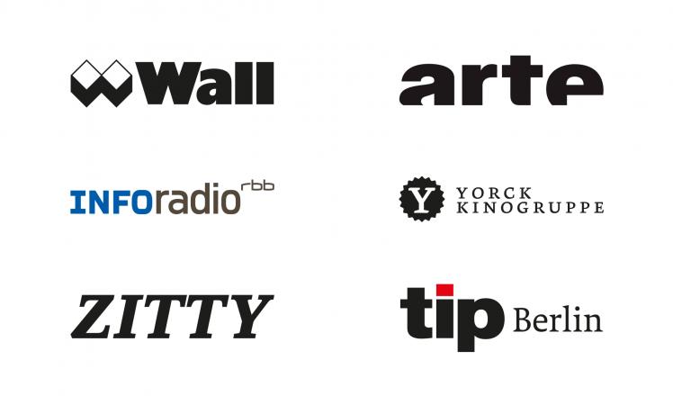 Logos von: WALL GmbH, arte, INFOradio, Yorck Kinogruppe, zitty, tip Berlin