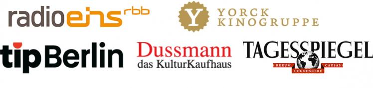 Logos ofRadioeins, Yorck Kinogruppe, tip Berlin, Dussmann das Kulturkaufhaus, and Tagesspiegel