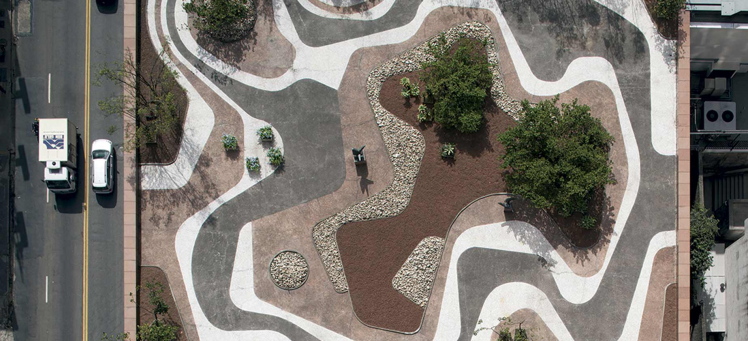 Photo of a garden from aerial perspective