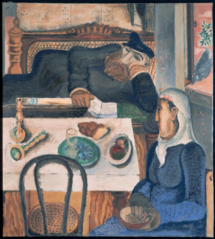 Ölgemälde mit Blick in eine gute Stube: ein Mann liegt auf seinem Tallit, eine Frau schaut auf den Tisch, wo noch die Dinge vom Schabbat liegen