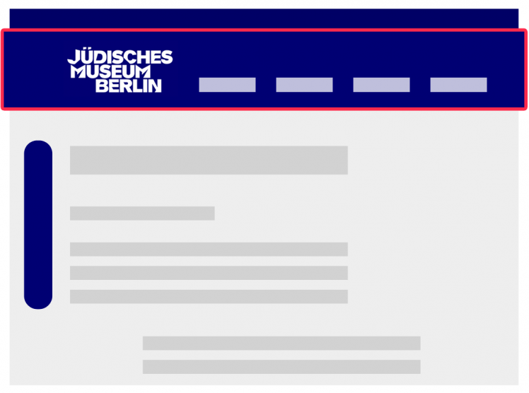 Graphic of the start page with a red border around the main navigation