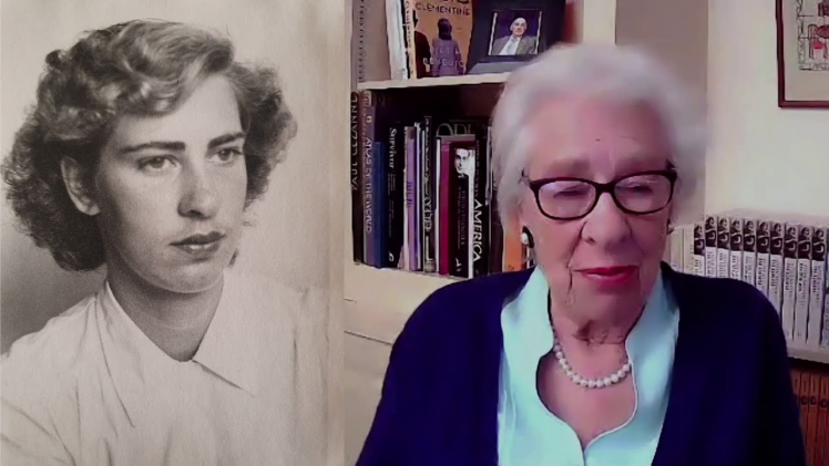 Eva Schloss 2021 (on the right) and as young woman (on the left)