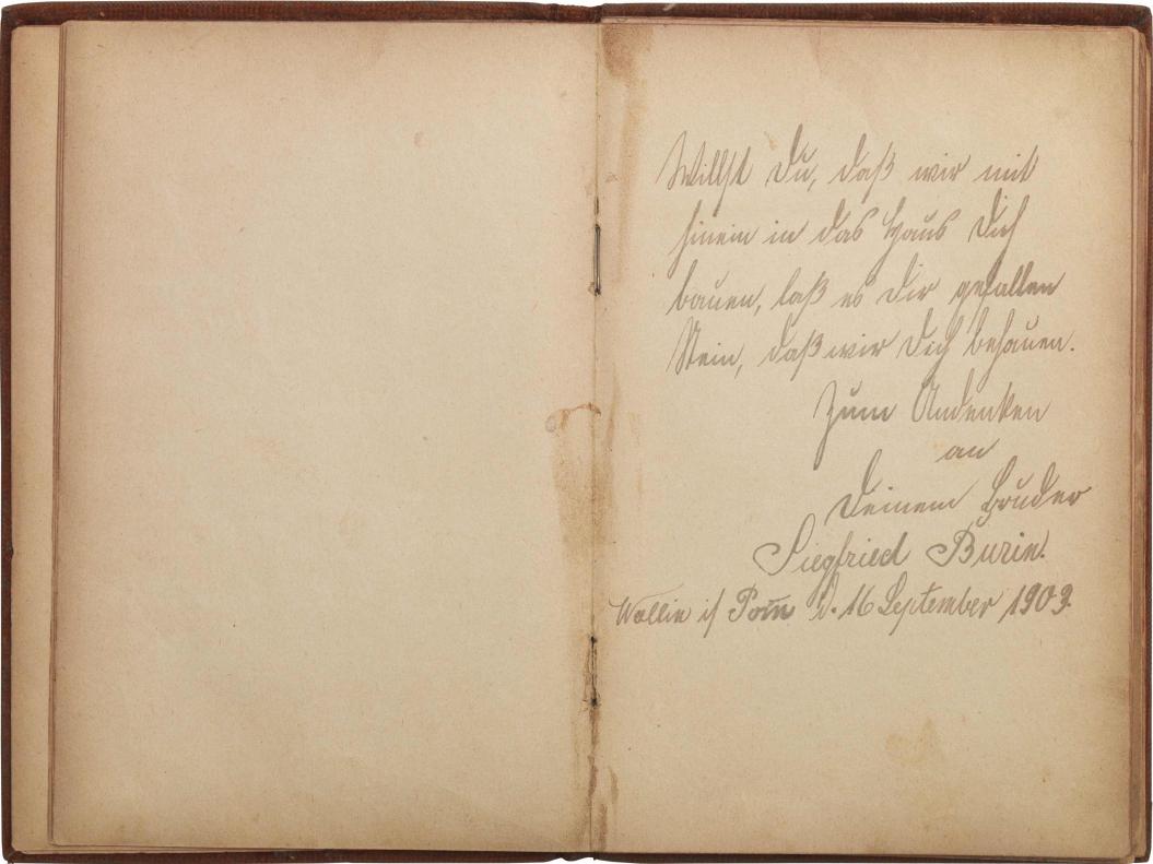 Aufgeschlagene Doppelseite mit handschriftlichem Eintrag auf der rechten Seite