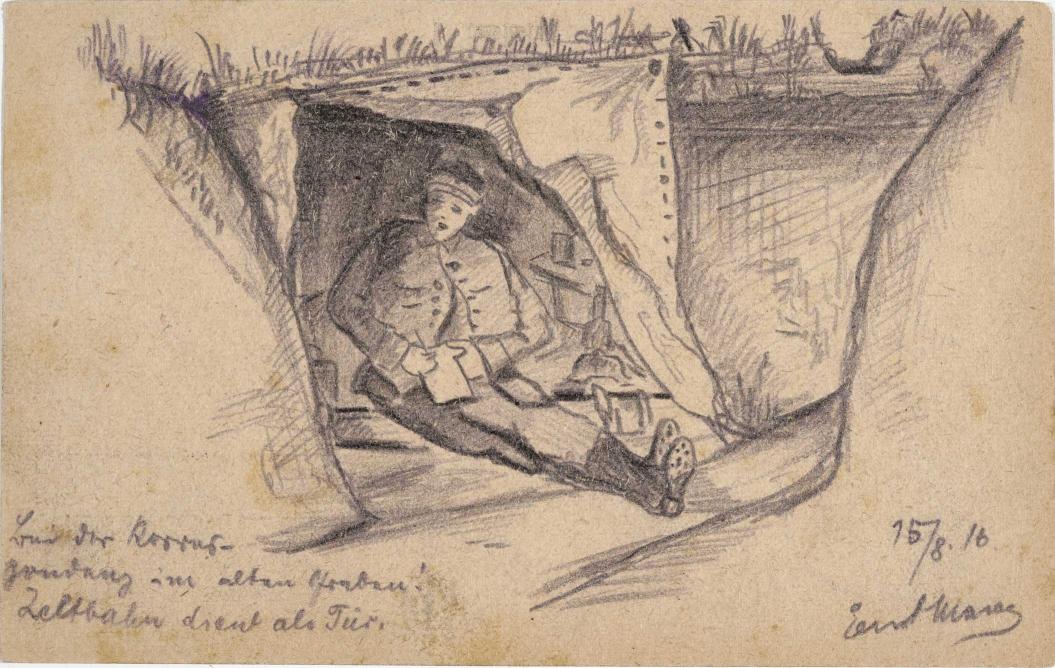 Zeichnung, Bleistift: Schreibende Soldat, der in einem provisorischen Unterstand in einem Schützengraben sitzt