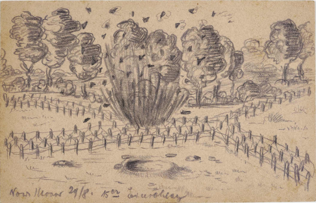 Zeichnung, Bleistift: Einschlagtrichter und Explosion zwischen Drahtverhau, im Hintergrund Laubbäume