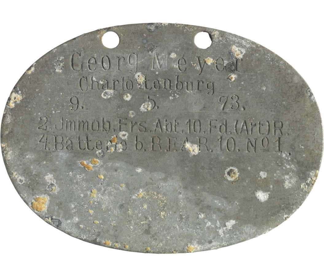 Oval dog tag, aluminum, engraved
