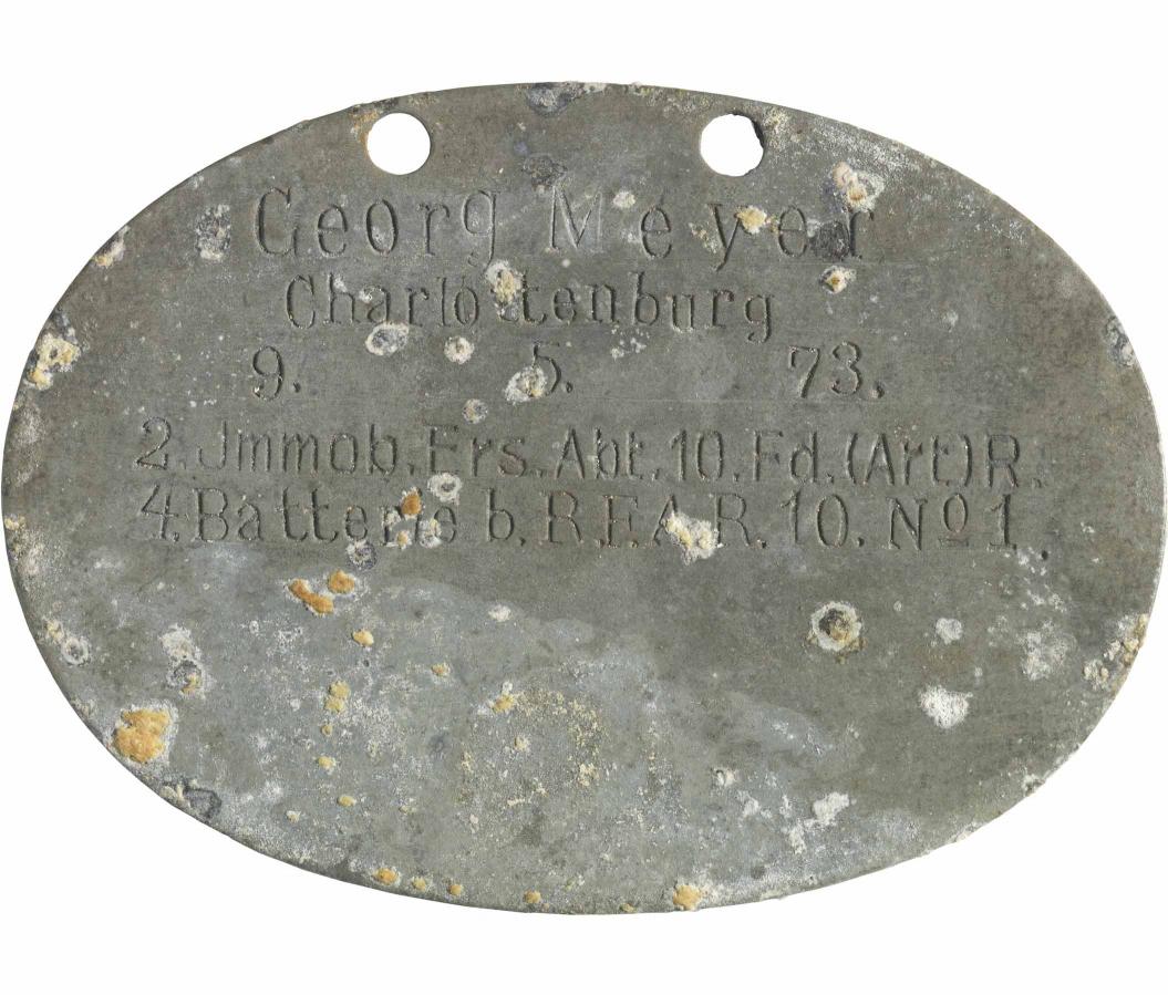Ovale Erkennungsmarke, Aluminium, graviert