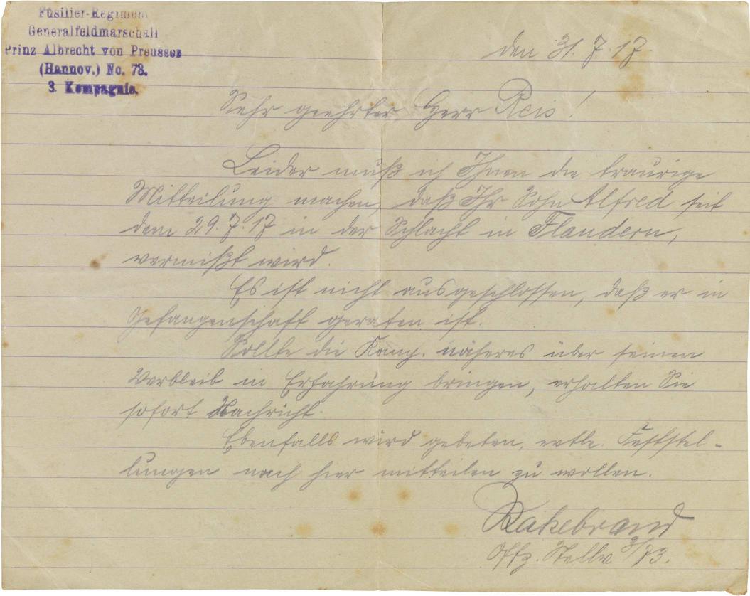Brief, handschriftlich, Stempel