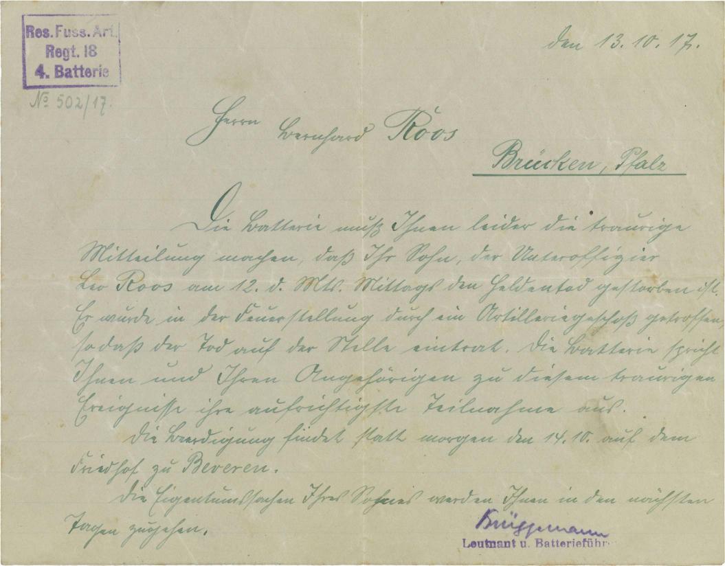 Letter: handwritten, stamped