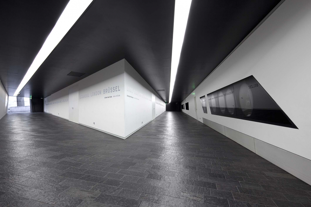 Two long hallways extend to the entrances of the Garden of Exile and the Holocaust Tower