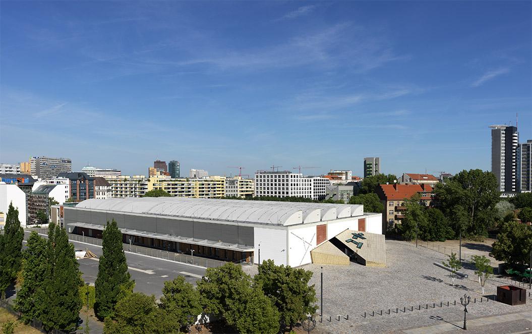 Foto aus der Vogelperspektive von der Akademie in der ehemaligen Blumengroßmarkthalle