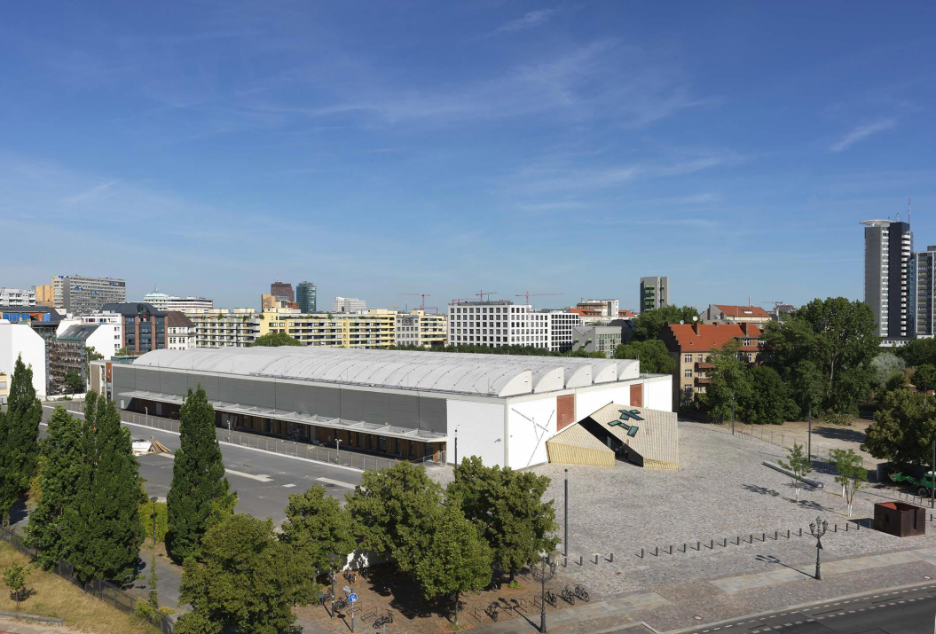 Aerial photo of the Academy in the former wholesale flower market
