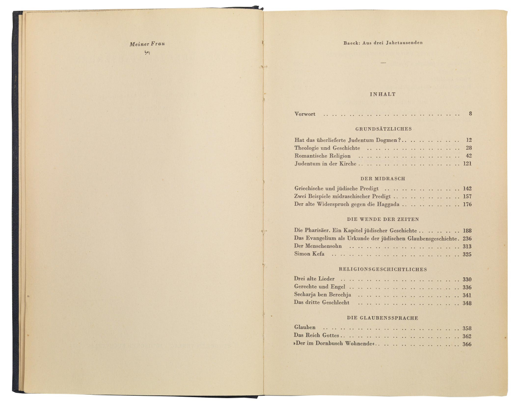 Open book showing table of contents