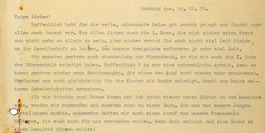 Ausschnitt aus einem maschinenschriftlichen Brief vom 14.12.1938