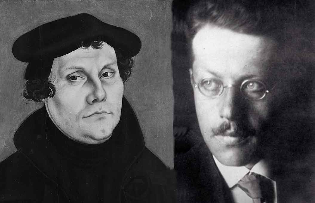 Cranach portrait painting of Luther and photo of Franz Rosenzweig