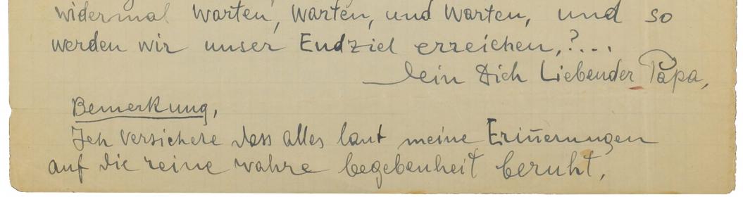 letzte Zeilen eines handschriftlichen Briefes