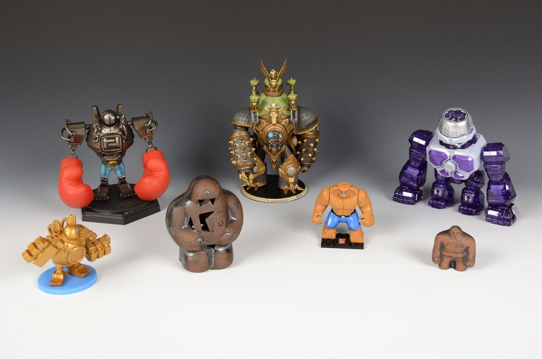Several golem souvenirs or action figures