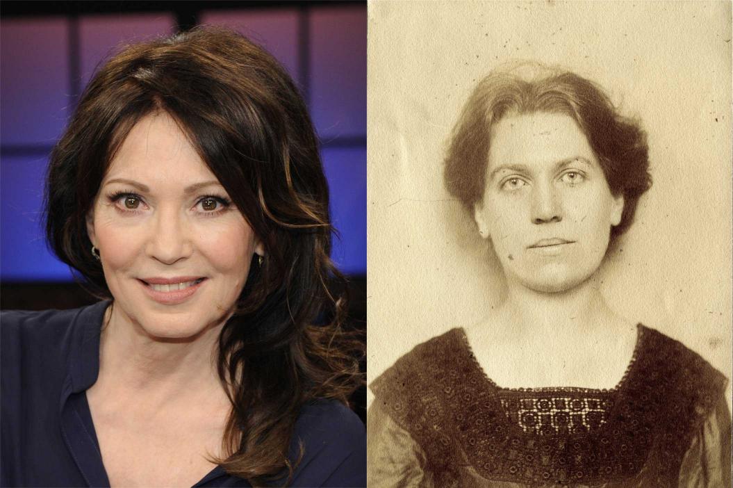 Portraits of Iris Berben and Paula Buber, both looking straight into the camera