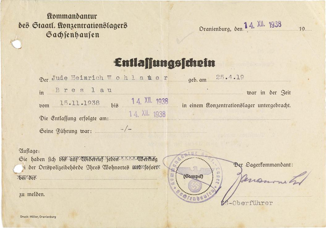 Vergilbtes maschinenbeschriebenes Blatt mit einigen handschriftlichen Ergänzungen und Stempeln