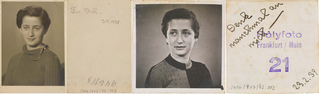 Two black-and-white portrait photographs of a young woman, with handwritten dedications beside