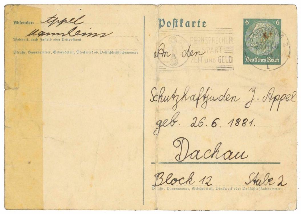 Andere Seite der Postkarte mit Anschrift »An den Schutzhaftjuden J. Appel« in »Dachau«
