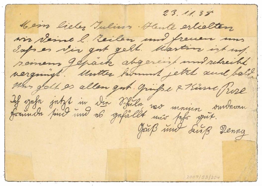 Die im Fließtext erwähnte handschriftliche Postkarte