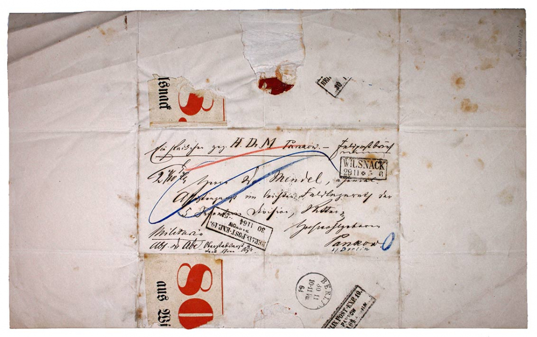 Briefbogen aus dem 19. Jahrhundert adressiert an Emanuel Mendel